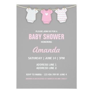 Pink Baby Shower Invitation, Clothesline Theme 13 Cm X 18 Cm Invitation Card