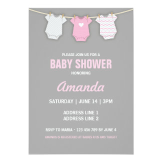 Pink Baby Shower Invitation, Clothesline Theme Card
