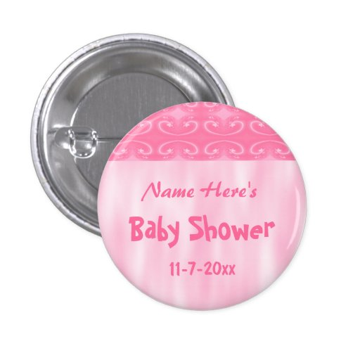 pink baby shower pinback buttons zazzle