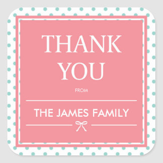 Pink Baby Shower Polka Dots & Ribbon Thank You Square Sticker