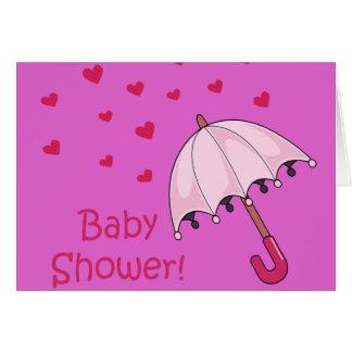 pink baby shower raining hearts greeting card