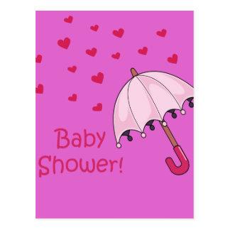 pink baby shower raining hearts postcard