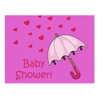 pink baby shower raining hearts postcard
