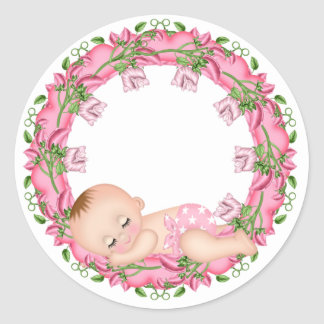 Pink Baby Shower Sticker with Baby floral