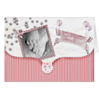 Pink Baby shower Thank you card for baby girl