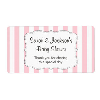 Pink baby shower thank you favor water bottle wrap