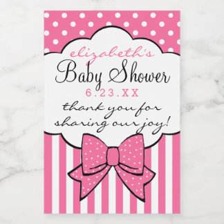 Pink Baby Shower Thank You For Coming Guest Favor Food Label