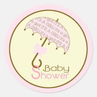 Pink Baby Shower Umbrella Sticker