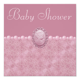 Pink Baby Shower Vintage Cameo & Pearls Card