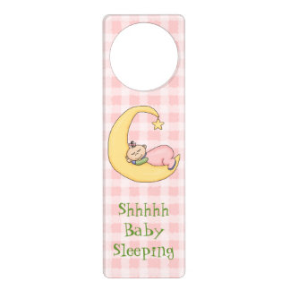 Pink Baby Sleeping Door Hanger