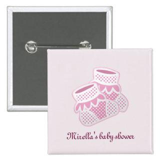 pink baby socks 15 cm square badge