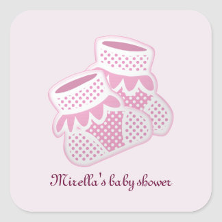 pink baby socks square sticker