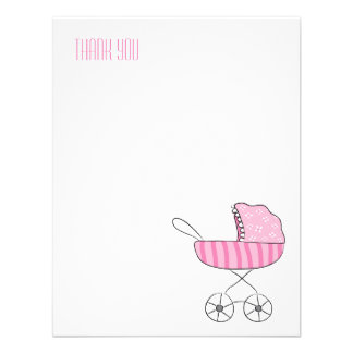 Pink Baby Stroller | Flat Thank You Note Cards Personalised Invitations