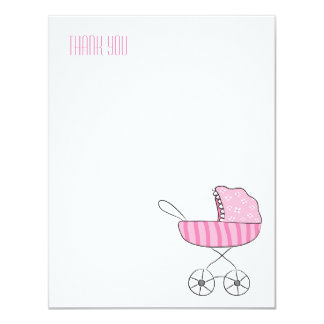 Pink Baby Stroller | Flat Thank You Note Cards Invites