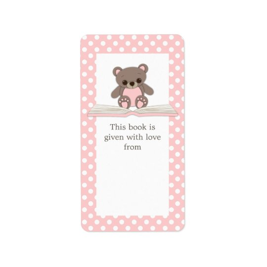 Pink Baby Teddy Bear on Book Gift Bookplate Label Address Label