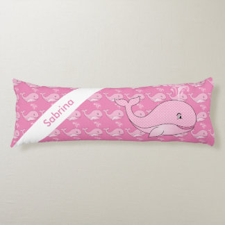 Pink Baby Whale   Personalize Body Pillow