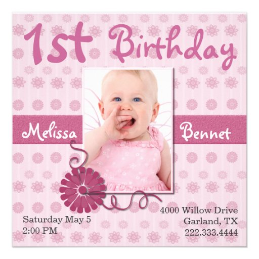 Pink Baby's First Birthday Photo Invitation