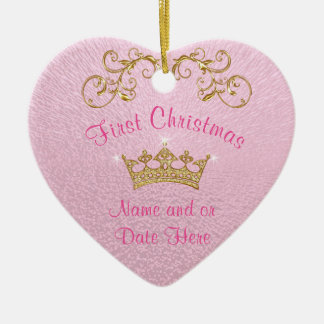 Pink Baby's First Christmas Ornament Personalized