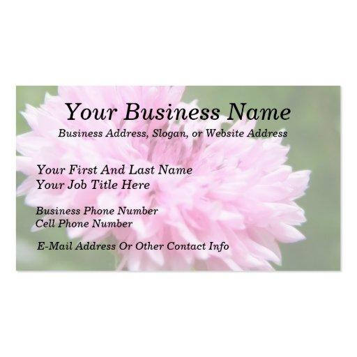 Pink Bachelor Button Business Card Template