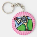 Pink Badminton Key Chain