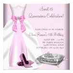 Pink Ball Gown High Heel Shoes Quinceanera Personalised Announcement