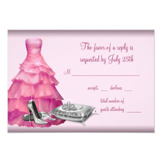 Pink Ball Gown High Heel Shoes Quinceanera RSVP Invitation