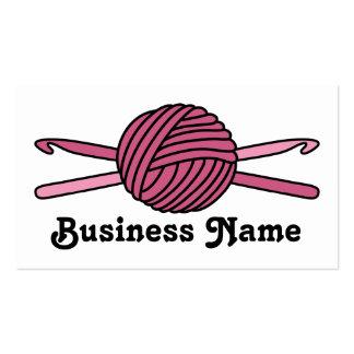 Pink Ball of Yarn & Crochet Hooks Business Cards