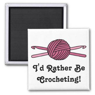 Pink Ball of Yarn & Crochet Hooks Magnet