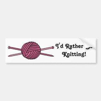 Pink Ball of Yarn & Knitting Needles Bumper Sticker