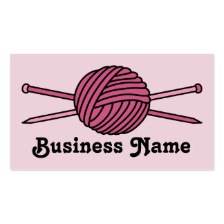Pink Ball of Yarn & Knitting Needles Business Card