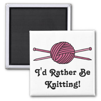 Pink Ball of Yarn & Knitting Needles Square Magnet
