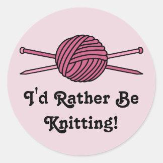 Pink Ball of Yarn Knitting Needles Sticker