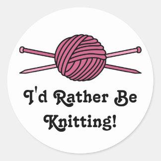Pink Ball of Yarn & Knitting Needles Sticker