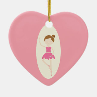 Pink Ballerina 1 Heart Ornament
