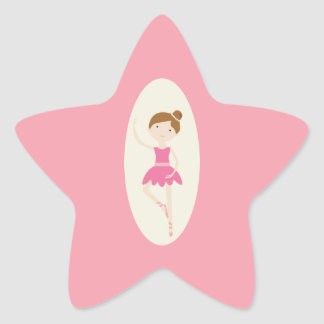 Pink Ballerina 1 Star Stickers