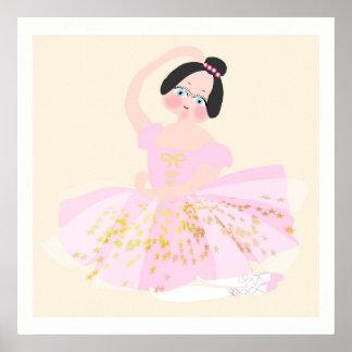 Pink Ballerina art Illustration. Poster