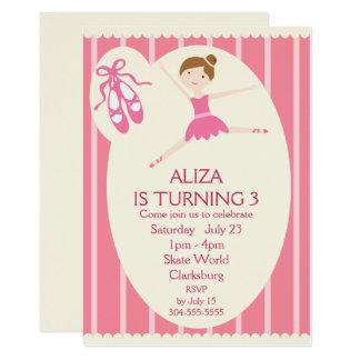 Pink Ballerina Birthday Party 13 Cm X 18 Cm Invitation Card