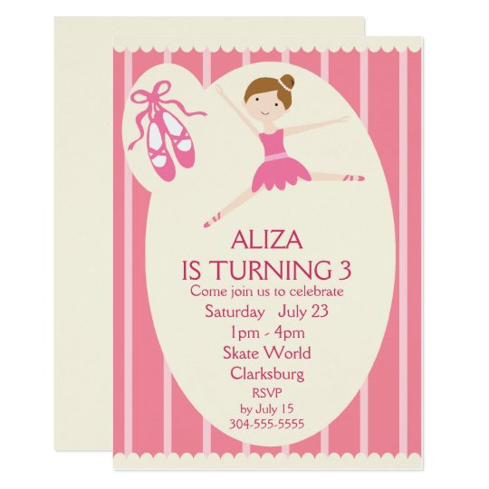 Pink Ballerina Birthday Party Card