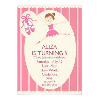 Pink Ballerina Birthday Party Custom Invites