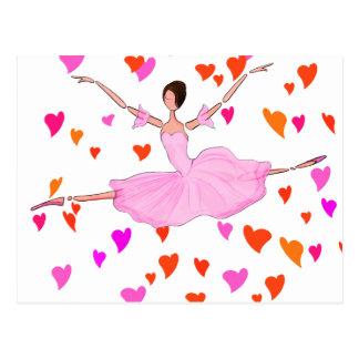 PINK BALLERINA DANCING AND JUMPING POSTCARD