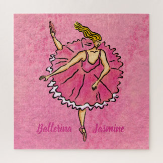 Pink Ballerina en Pointe Square Jigsaw Puzzle