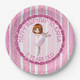 Pink Ballerina Girl's Name Birthday Cake Plates