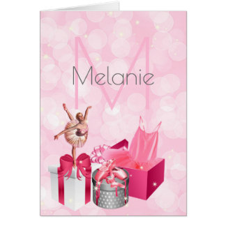 Pink Ballerina Monogrammed with Name Blank Card