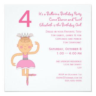 Pink Ballerina Princess Birthday Party 13 Cm X 13 Cm Square Invitation Card