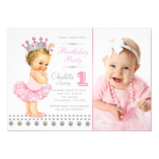 Pink Ballerina Princess Pearl Girl Birthday Party 13 Cm X 18 Cm Invitation Card