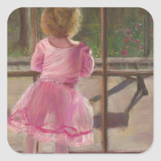 pink ballerina square sticker