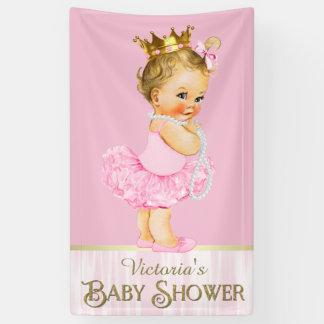 Pink Ballerina Tutu Pearl Baby Shower Banner