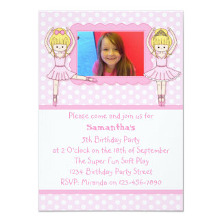Pink Ballerinas Birthday Party Photo Invitation