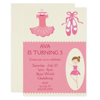Pink Ballet Dancer Birthday Party Card