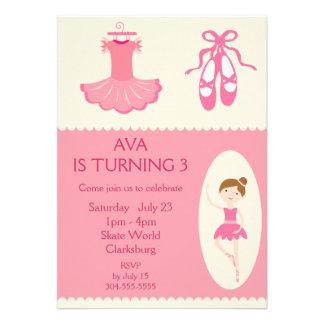 Pink Ballet Dancer Birthday Party Announcements